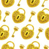 Seamless pattern with key vector. Gold lock hearts and keys background. Seamless pattern with key vector. Gold lock hearts and keys background vector illustration