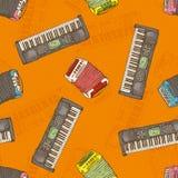 Seamless Pattern. Keyboard instruments Royalty Free Stock Photo