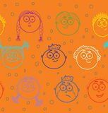 Seamless pattern of kid's faces Royalty Free Stock Images