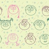 Seamless pattern of kid's faces Stock Photo