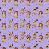 Seamless pattern. kids collection. little girls with of gifts and a balloon and in a yellow dress with a toy hare on