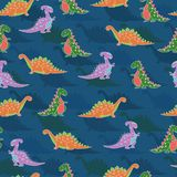 Seamless pattern kids design with cute multicoloured dinosaurs. Repeat pattern with hand drawn colourful dinosaurs on blue background vector illustration