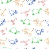Seamless pattern. Kids doodles with color pets (cats, birds, tortoise and dogs). Vector. Royalty Free Stock Photo