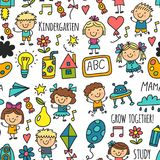 Seamless pattern Kids drawing Kindergarten School Happy children play Illustration for kids Nursery Preschool Children. Kids drawing Kindergarten School Happy Royalty Free Stock Photography