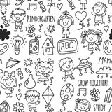 Seamless pattern Kids drawing Kindergarten School Happy children play Illustration for kids Nursery Preschool Children. Kids drawing Kindergarten School Happy stock illustration