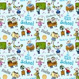 Seamless pattern with kids Stock Photos