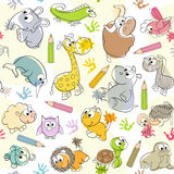 Seamless pattern with  kids' drawings of animals Royalty Free Stock Photos