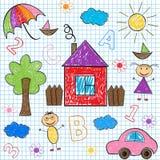 Seamless pattern kids' drawings Stock Photos