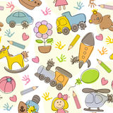 Seamless pattern with  kids' drawings Stock Image