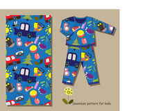 Seamless pattern for kids and example of its use for pajamas. Stock Images