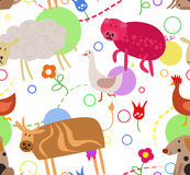 Seamless pattern for kids - farm animals Royalty Free Stock Photography