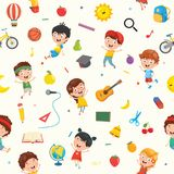 Seamless Pattern Of Kids And Objects. Eps 10 stock illustration