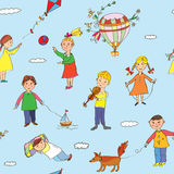 Seamless pattern with kids playing. Funny design Royalty Free Stock Photography