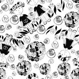 Seamless pattern with kids and summer symbols Stock Photography