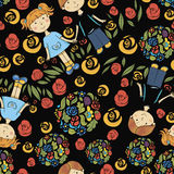 Seamless pattern with kids and summer symbols. Hand drawn seamless pattern with kids and summer symbols Royalty Free Stock Photos