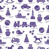 Seamless pattern with kids toys. vector illustration
