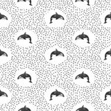 Seamless pattern with killer whales. Vector black and white background Royalty Free Stock Photo