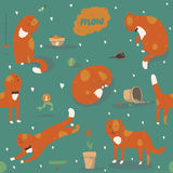 Seamless pattern with kind funky ginger cats, fun, stylish. Vector illustration with cat accessories - food, toys, broken flower. Royalty Free Stock Image