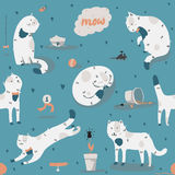 Seamless pattern with kind funky white cats, fun, stylish. Vector illustration with cat accessories - food, toys, broken flower. K Stock Photos