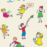 Seamless pattern for kindergarten with active kids Royalty Free Stock Photos