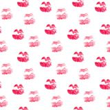 Seamless pattern with kiss lips . Cute background in watercolor. Valentines day texture. Fashion textile print design. royalty free illustration