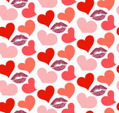 Seamless pattern with kisses and hearts Royalty Free Stock Photography
