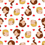 Seamless pattern of kissing boy and girl. Liking hearts envelops them. Vector illustration Royalty Free Stock Photos