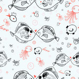 Seamless pattern of kissing fish Stock Image