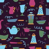 Seamless pattern with kitchen appliances in a flat cartoon style. Background for design. Cooking vector illustration