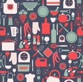 Seamless pattern of kitchen Stock Photos