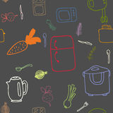 Seamless pattern of kitchen electronics and food Stock Photo