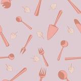 Seamless pattern for kitchen interior design. Vector seamless pattern with tableware for kitchen interior design Royalty Free Stock Photo