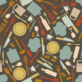 Seamless pattern with kitchen items Stock Images