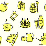 Seamless pattern of kitchen items in yellow. Vector illustration Stock Photos