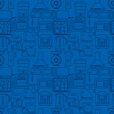 Seamless pattern with kitchen machines. Contains oven, microwave, mixer, blender Royalty Free Stock Photo