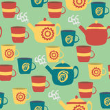 Seamless Pattern for Kitchen. Teapots and Cups. Royalty Free Stock Photos