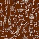 Seamless pattern on a kitchen theme. Variety of products, kitchenware, appliances and condiments. Royalty Free Stock Photography