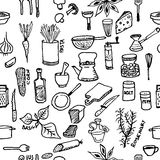 Seamless pattern on a kitchen theme. Variety of products, kitchenware, appliances and condiments. Royalty Free Stock Photos