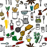 Seamless pattern on a kitchen theme. Variety of products, kitchenware, appliances and condiments. Stock Photos