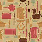 Seamless pattern of kitchen tools for cookin Stock Photo