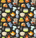 Seamless pattern with kitchen tools and cooking icons. Stock Images