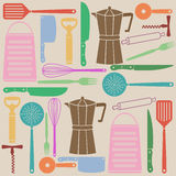 Seamless pattern of kitchen tools Stock Image