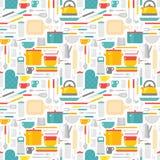 Seamless pattern with kitchen tools vector illustration. Stock Photo