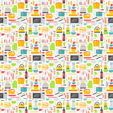 Seamless pattern with kitchen tools vector illustration. Stock Photo