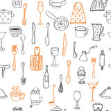 Seamless pattern with kitchen utensil Stock Photography