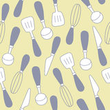Seamless pattern of kitchen utensils background Stock Images