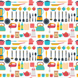 Seamless pattern with kitchen utensils. Home appliances for cook Royalty Free Stock Image