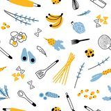 Seamless pattern with kitchen utensils for homemade meals preparation, fruits and vegetables on white background. Modern. Vector illustration in flat style for vector illustration