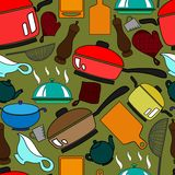 Seamless pattern with kitchen utensils Stock Images