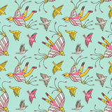 Seamless pattern with kites in the sky. Vector childish fabric design. Bright background. Stock Photography